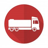 stock photo of tank truck  - truck red flat icon cargo sign - JPG