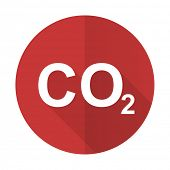 picture of carbon-dioxide  - carbon dioxide red flat icon co2 sign