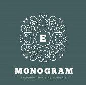 image of monogram  - Simple and graceful monogram design template - JPG