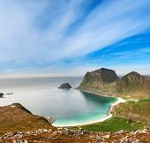 stock photo of fjord  - Panorama of scenic fjord on Lofoten islands with towering mountain peaks - JPG