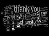 stock photo of thanksgiving  - Concept or conceptual abstract thank you word cloud in different languages or multilingual for education or Thanksgiving Day - JPG
