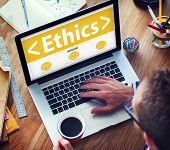 stock photo of morals  - Online Ethics Religion Morality Office Working Concept - JPG