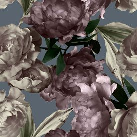 picture of garden-art  - art vintage monochrome graphic and watercolor floral seamless pattern with white and purple peonies on grey background - JPG