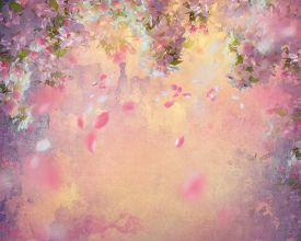 stock photo of canvas  - Spring cherry blossom with flying petals on canvas vintage background - JPG