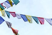 Постер, плакат: Buddhist Prayer Flags The Holy Traditional Flag In Bhutan