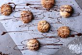 Delicious coconut macaroons on parchment paper poster
