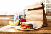 stock photo of school lunch  - delicious and healthy school lunch with paper bag - JPG