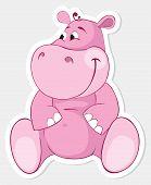stock photo of behemoth  - Fun pink cartoon behemoth - JPG