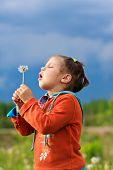 Beautiful little girl blowing dandelion