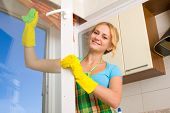 stock photo of cleaning house  - Women cleaning a window 3 - JPG