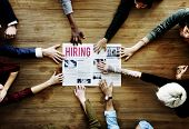 Diverse People Hands Reach Out for Hiring Newspaper Announcement poster