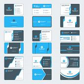 Set Of Modern Business Card Print Templates. Horizontal Business Cards. Blue And Black Colors. Perso poster
