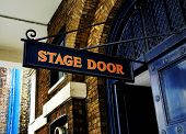 stock photo of pantomime  - Stage door sign - JPG