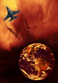 stock photo of afterburner  - f16 fighter airplane on fiery flaming clouds leaving earth - JPG