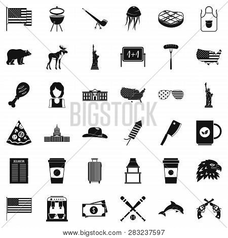 Uncle Sam Icons Set Simple