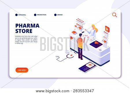 Pharmacy Isometric Concept Doctor Pharmacist