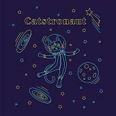 Cat Astronaut In Spacesuit Flying In Space. Outline Vector Illustration. Design For Kids Print, Post poster