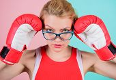 A Huge Sense Of Self Confidence. Sportswoman With Nerdy Look. Pretty Woman In Glasses And Boxing Glo poster