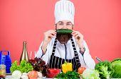 Vegetarian Recipe Concept. Choose Vegetarian Lifestyle. Man Cook Hat Apron Hold Fresh Vegetables. Ve poster