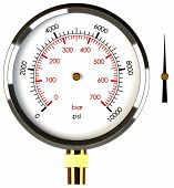 stock photo of air pressure gauge  - A Pressure Gauge with a Separate Needle to Drop on the Gauge - JPG