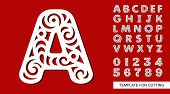 Letter A. Full English Alphabet And Digits 0,1,2,3,4,5,6,7,8,9. Lace Letters And Numbers. Template F poster