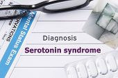 Diagnosis Serotonin Syndrome. Medical Notebook Labeled Diagnosis Serotonin Syndrome, Psychiatric Men poster