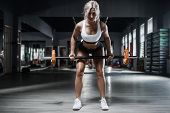 Beautiful Strong Sexy Athletic Muscular Young Caucasian Fitness Woman Workout Barbell Squat Training poster