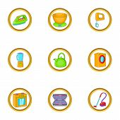 Home Appliances Icon Set. Cartoon Set Of 9 Home Appliances Icons For Web Isolated On White Backgroun poster