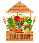 Signboard Of Tiki Bar With Exotic Cocktail In Mug With Tiki Mask, Bamboo Torch And Fruits. Hawaiian  poster