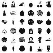 Vegetarian Shop Icons Set. Simple Style Of 36 Vegetarian Shop Icons For Web Isolated On White Backgr poster