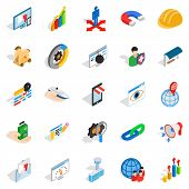 Interface Sign Icons Set. Isometric Set Of 25 Interface Sign Icons For Web Isolated On White Backgro poster