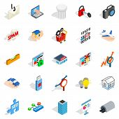 Web Interface Icons Set. Isometric Set Of 25 Web Interface Icons For Web Isolated On White Backgroun poster