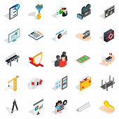 Interface Icons Set. Isometric Set Of 25 Interface Icons For Web Isolated On White Background poster