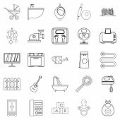 Home Appliances Icons Set. Outline Set Of 25 Home Appliances Icons For Web Isolated On White Backgro poster