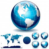 image of world-globe  - Globe and detail map of the world - JPG