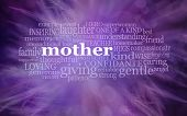 Mothering Sunday Word Cloud  Background Banner   -  Purple Feathery Background With The Word Mother  poster