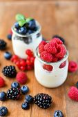Lactose Free Yogurt With Fresh Berries Of Blackberries, Raspberries, Blueberries, Red Currants. The  poster