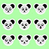 Set Of Panda Stickers. Different Emotions, Expressions. Sticker In Anime Style. Vector Illustration  poster