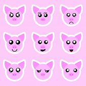 Set Of Pig Stickers. Different Emotions, Expressions. Sticker In Anime Style. Vector Illustration Fo poster