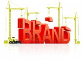 Brand development or creation of strong red product name marketing quality label trademark branding