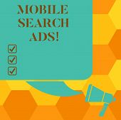 Handwriting Text Writing Mobile Search Ads. Concept Meaning Ad That Can Appear On Webpages And Apps  poster