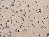 Sand Beach Of Mediterranean Sea With Colorful Rounded  Pebble In The Sand. Sunny Beach On The Sea Wi poster