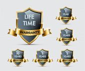 Glass Shields With Golden Frames And Ribbons With Different Warranty Texts. Vector Warranty Shields  poster