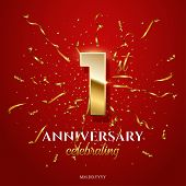 1 Golden Number And Anniversary Celebrating Text With Golden Serpentine And Confetti On Red Backgrou poster