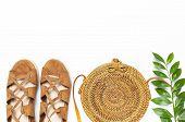 Fashionable Handmade Natural Organic Rattan Bag, Sandals, Green Twig On White Background. Ladies Bag poster