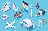 Airport Isometric. Passenger Luggage, Airport Terminal. Tower Plane Passport Checkpoint. Business Ai poster