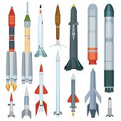 Army Missile. Flight Armour Propeller Rocket Engine Weapon Military Technology War Vector Collection poster