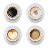 Coffee Cup Top. Hot Milk Espresso Latte Breakfast Tea Time Vector Realistic Template. Illustration O poster