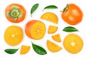 Persimmon Fruit Slice With Leaves Isolated On White Background. Top View. Flat Lay Pattern poster