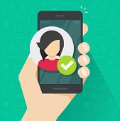 Identity Proof Via Mobile Phone Vector Illustration, Flat Verified Person Id On Smartphone, Cellphon poster